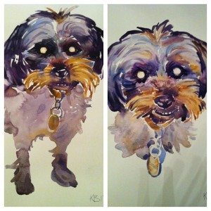 Two paintings my best friend Arin commissioned for me of my handsome man, Bogart.